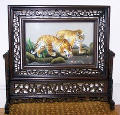 Unique double sided embroidery work, tigers on one side and leopards on the other side. Both embroidery work hand embroidered on the same single silk gauze.