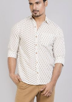 Block printed cotton shirts tops and shirt BS Each 3 This shirt is constructed from a handle cotton with block prints pattern .This cotton shirts ensure comfort and fit that easily outshines others.*classic collar shirt *semi formal shirt *Full sleeves *Front buttoned **roll up sleeves