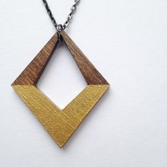 Gold and Wood Diamond Necklace Wooden Necklace by alysonprete