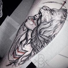 Arte do @brunoalmeida.art de Campinas/SP Orçamentos pelo brunoalmeida.art@gmail.com #Art #Artist #Inked #Tattoo #Tattooartist #Tattooed #blackworktattoo Wolf Girl Tattoos, Arm Tattoos For Guys, All Tattoos, Body Art Tattoos, Sleeve Tattoos, Tattoos For Women, Headdress Tattoo, Hunter Tattoo, Greek Mythology Tattoos