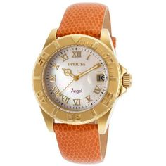 Invicta Women's Orange Purple Genuine Leather Mother of Pearl Dial (€53) ❤ liked on Polyvore featuring jewelry, watches, orange, purple jewelry, mens wrist watch, invicta watches, leather wrist watch and bezel watches