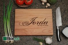 Personalized/ Engraved Cutting Board w/ Last by PegasusParchments