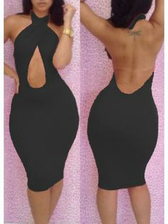 Solid Black Backless Sleeveless Sheath Dress for Club