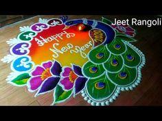 Happy new year 2020 rangoli. Easy and beautiful. Rangoli Designs Peacock, Rangoli Designs Simple Diwali, Happy Diwali Rangoli, New Year Rangoli, Rangoli Simple, Indian Rangoli Designs, Rangoli Designs Latest, Simple Rangoli Designs Images, Free Hand Rangoli Design