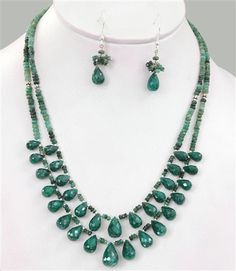 Unique Emerald Drops Necklace Set - Handcrafted in India
