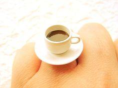 Kawaii Coffee Ring Miniature Food Jewelry.