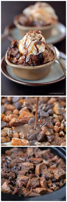 "Slow Cooker Chocolate Turtle Bread Pudding I couldn't pass this one up! ""Enjoy the slow cooker chocolate turtle bread pudding while it is still. Slow Cooker Desserts, Crock Pot Desserts, Just Desserts, Dessert Recipes, Oreo Dessert, Yummy Treats, Sweet Treats, Yummy Food, Receitas Crockpot"