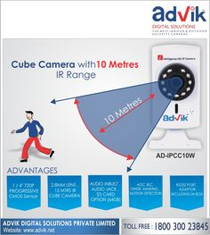 #CubeCamera with 10 Metres IR Range !!! An IR range of 10 metres together with motion detection and alarm make this camera a reliable and efficient #security solution. RS232 protocol ensures faster and more reliable communication. Key features of Advik's Cube Camera include; 1/2.8' Sony CMOS sensor with 1080 pixel resolution, DWDR (100DB), connectivity via WIFI and LAN, audio jack for speakers, 2.8mm lens and viewing angle of more than 90 degrees. Viewing through mobile App makes this ideal…