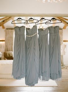 Grey dresses with Maid Of Honor having a embellished belt- I would have another color, but I like the idea of the MOH having a slightly different dress. Still the same, just a special little extra to help her stand out :)