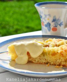 Murusen raparperipiirakka (maidoton, munaton) Pastry Cake, Jaba, Macaroni And Cheese, French Toast, Food And Drink, Cooking Recipes, Pudding, Pie, Vegan