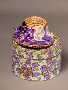 French Fashion Violets Hatbox plus Hat : Mary Ann Spinelli | Ruby Lane Hat Boxes, Antique Clothing, French Fashion, Antique Dolls, Decorative Boxes, Violets, Ruby Lane, Antiques, Hats