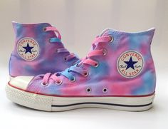 A new addition to the tie dye converse collection! A dreamy pastel version of the ever-popular unicorn vomit Converse! With laces dyed to Purple Converse, Purple Shoes, Custom Converse, Custom Shoes, Converse Sneakers, Sneakers Fashion, Rave Shoes, Accesorios Casual, Hand Painted Shoes
