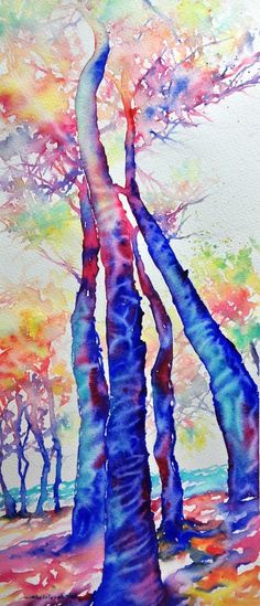 Forest - watercolor by ©Cristina Dalla Valentina - http://cristinaswatercolors.blogspot.ca/p/disponibili-available.html