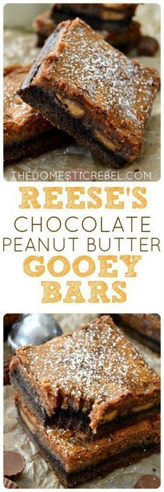 These Reese's Chocolate Peanut Butter Gooey Bars are outrageous! A chocolate brownie bottom topped with Reese's peanut butter cups and a glorious chocolate peanut butter gooey layer! An EASY recipe th (Chocolate Butter Candy) Fudge, Peanut Butter Desserts, Reeses Peanut Butter, Baking Recipes, Cookie Recipes, Dessert Recipes, Bar Recipes, Cream Recipes, Just Desserts