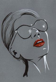 felixinclusis: lyndseyhale: Ink line sketch of face wearing sunglasses