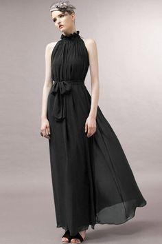 $28.99 | Black Flounced High Neck Chiffon Maxi Dress | Evergreenfashion