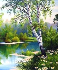 bob ross paintings landscapes Birke / B - landscape Easy Landscape Paintings, Landscape Quilts, Nature Paintings, Watercolor Landscape, Beautiful Paintings, Landscape Art, Watercolor Paintings, Bob Ross Paintings, Acrylic Painting Canvas