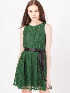 THE VANCA Skater Dress With Sash Tie Up online from koovs.com