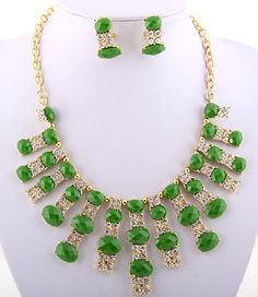 Chunky Gold Tone Rhinestone Green Statement BIB Necklace & Earring Set at TheJewelryBox65