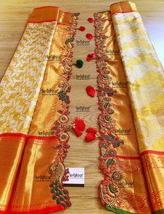 Latest Saree Kuchu/Tassel Designs to Beautify Your Saree - Embroidery tassels - Saree Tassels Designs, Saree Kuchu Designs, Wedding Saree Blouse Designs, Pattu Saree Blouse Designs, Fancy Blouse Designs, Wedding Sarees, Punjabi Wedding, Saree Wearing, Wedding Saree Collection
