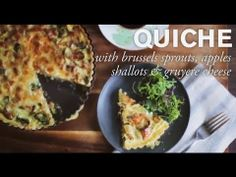 This quiche has a combination of Brussels sprouts, apples and shallots, but you can use whatever veggies you have on hand.