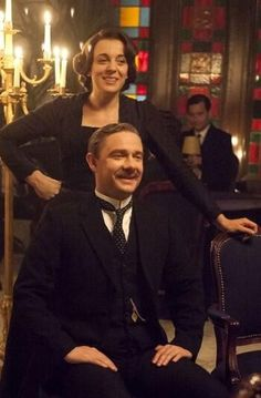 "Martin Freeman and Amanda Abbington in Mr Selfridge. It's the Season 1 episode with a séance with ""Arthur Conan Doyle"""