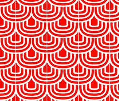 Red Retro Curves fabric by jemimalovesbigted on Spoonflower - custom.