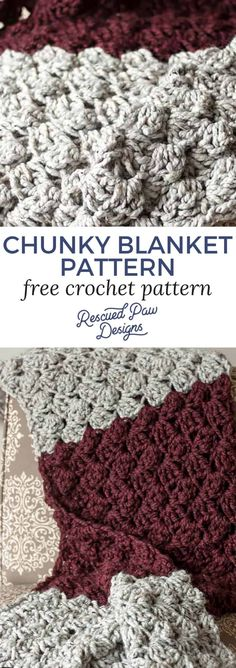 Free Chunky Crochet Blanket Pattern by Rescued Paw Designs. Make the Charlotte Blanket Today with this easy and FREE crochet pattern!