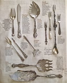 Want to add these to my antique silver collection! I love beautiful mismatched silver for parties SterlingSilverCutlery is part of Silver cutlery - Table Setting Etiquette, Dining Etiquette, Table Settings, Silver Cutlery, Vintage Cutlery, Sterling Silver Flatware, Silver Plate, Vintage Silver, Antique Silver