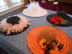 decorated straw hats...perfect for a tea or garden party