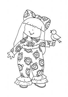 Dearie Dolls Digi Stamps Girl with birdie