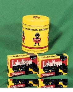 Halvan lakunappirasioita ja lakritsipurkki. Vintage Toys, Retro Vintage, Retro Candy, Good Old Times, Tin Boxes, Teenage Years, Old Toys, Finland, Childhood Memories