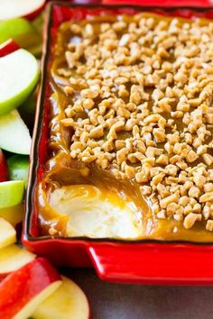 Caramel apple dip with a layer of cream cheese.
