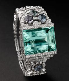 Cartier Boreal Bracelet - Platinum, one 54.95-carat aquamarine, four spinels totalling 7.12 carats, brilliants