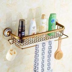 69.41$  Watch here - http://ali53m.worldwells.pw/go.php?t=32436923565 - Antique Brass Blue & White Porcelain Bathroom Single-Tier Bathroom  Storage Rack Wall Mount Bathroom Shelf with Towel Bar 1805F 69.41$
