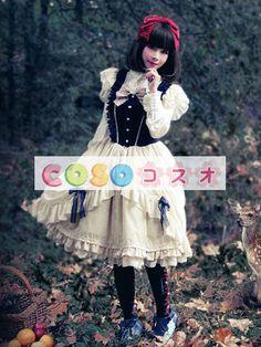 ロリィタドレス 半袖 ダークネイビー レーストリム フリル プリンセス リボン ―Lolita0035