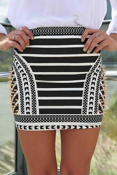 Black and White African Print Skirt with Gold Spike Detail, Skirt, studded skirt mini skirt, Chic. Without the studs. Look Fashion, Fashion Details, Womens Fashion, Fashion Trends, Fashion Lookbook, Fashion Killa, Skirt Fashion, Fashion Shoes, African Print Skirt