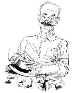 Antonio Tabucchi by Tullio Pericoli. Photo signaled from @ALittleLibrary