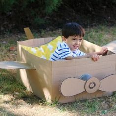 Watch this short video and learn how to make a cool cardboard box airplane with help from your kids.