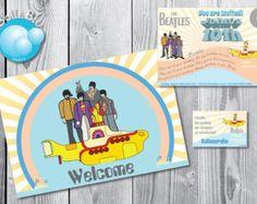 The Beatles Yellow Submarine baby kit festa Aniversário Digital customizáveis para impressão