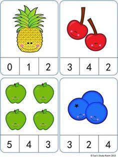 Fruit Count and Clip Cards: Numbers Fruit Count and Clip Cards: Numbers Counting Activities, Preschool Learning Activities, Preschool Printables, Preschool Activities, Kids Learning, Numbers Preschool, Learning Numbers, Montessori Math, Kindergarten Math Worksheets