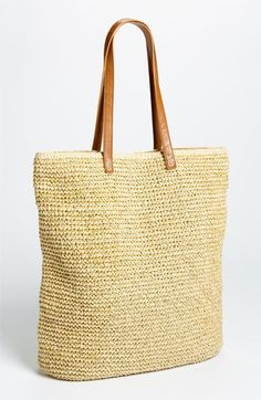 Straw Studios 'North South' Straw Tote available at Straw Handbags, Tote Handbags, Leather Handle, Cow Leather, Straw Tote, Crochet Handbags, Large Bags, Bag Making, Purses And Bags
