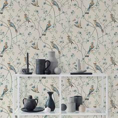 Tolle Tapete mit Vögeln und Zweigen:  EUGEN graublau von Sandberg!