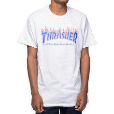 Thrasher Magazine Patriot Flame Ash Grey T-Shirt at Zumiez : PDP