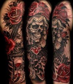Tatuaż czerwone róże i czaszka