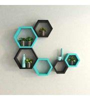 Desi Karigar Wall Mount Shelves Hexagon Shape Set Of 6 Wall Shelves - Black & Sky Blue