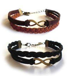 Bracciale Infinito treccia TWIST pelle cordino braccialetto infinity UOMO new, by «:::Mosquitonero Shop:::», 7,90 € su misshobby.com