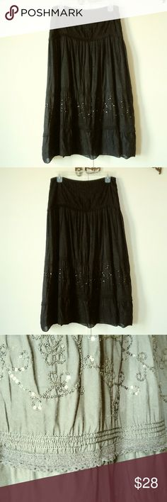 🌈 Boho Beautiful NWOT. Lined.  Pictures don't do it justice.   It is definitely black, tho the pics look gray. To get details its the best i could do for this embellished sequined beauty. Its calf length, mid shin on me depending on your height. I'm 5'4.. I simply can't do midi myself.. I perfer to the ankle. Tried on many times but never walked out the door wearing it! Time to move on.. Xoxo Nine West Skirts Midi