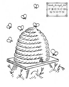 Beehive Embroidery Transfer Pattern