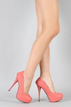 Coral Pink Nubek High Stiletto Heel Platform Pump 10 us Qupid Neutral-210